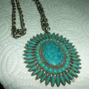 costume necklace   tourquiose and metal